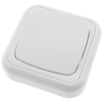 Pulsador de superficie BeMatik con marco 80x80mm de color blanco