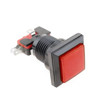 Pulsador arcade BeMatik momentáneo 32x32 mm 1NO 1NC 250V 15A SPDT rojo con luz
