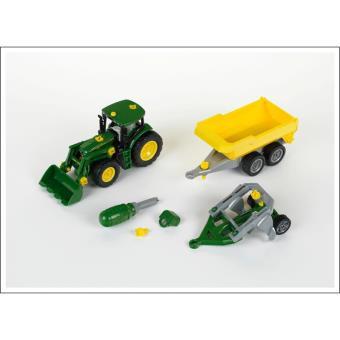 Theo Klein 3904 Tractor John Deere con pala frontal, remolque y arado