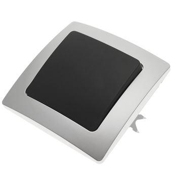 Pulsador empotrable con marco BeMatik 80x80mm serie Lille de color plata y gris