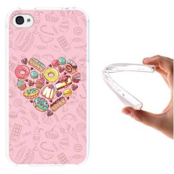 bd584d0b243 Funda iPhone 4 iPhone 4S, WoowCase [ iPhone 4 iPhone 4S ] Funda Silicona  Gel Flexible Corazón de Dulces, Carcasa Case TPU Silicona - Transparente -  Fundas y ...