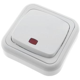 Pulsador luminoso de superficie con marco BeMatik 80x80mm de color blanco