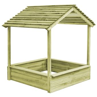 Casa de juegos de jardín vidaXL, cajón de arena madera de pino FSC