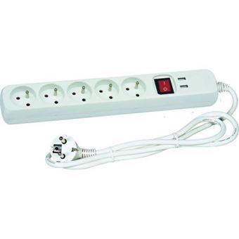 VOLTMAN Bloque blanco 5 enchufes 2 polos + tierra + 2 puertos USB - Con interruptor