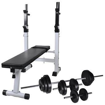 Banco musculación vidaXL, soporte pesas, pesas y mancuernas 30,5 kg