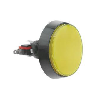 Pulsador arcade BeMatik momentáneo 60 mm 1NO 1NC 250V 15A SPDT amarillo con luz