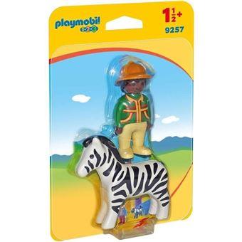 Playmobil 1.2.3 - Hombre con Cebra, multicolor, única (9257)