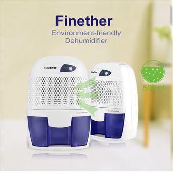Deshumidificador de Aire 500ml Finether xROW-600B Mini Secadora Portátil para Cocina de Baño, Blanco