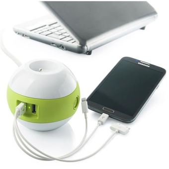 WATT & CO Multimedia Multimedia WATTBALL 2P 16A + 1P 6A + USB 2.1A Verde
