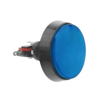 Pulsador arcade BeMatik momentáneo 60 mm 1NO 1NC 250V 15A SPDT azul con luz
