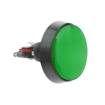 Pulsador arcade BeMatik momentáneo 60 mm 1NO 1NC 250V 15A SPDT verde con luz