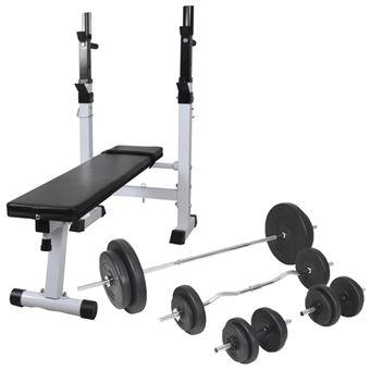 Banco de ejercicios vidaXL, soporte pesas, pesas y mancuernas 90 kg