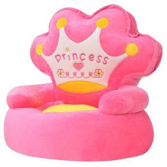 Silla de peluche para niños vidaXL princesa Rosa