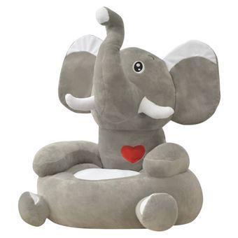 Silla de peluche para niños vidaXL elefante Gris