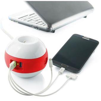Regleta de alimentación multimedia WATT & CO WATTBALL 2P 16A + 1P 6A + USB 2.1A Rojo