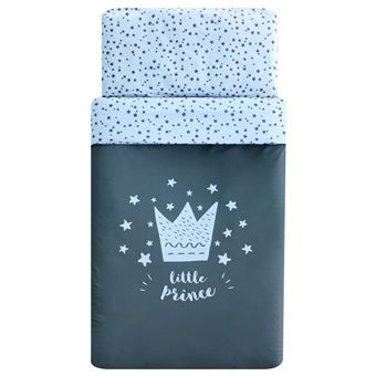 Pack Funda Nórdica maxicuna Pekebaby (120 x 150 cm) Little Crown Azul algodón