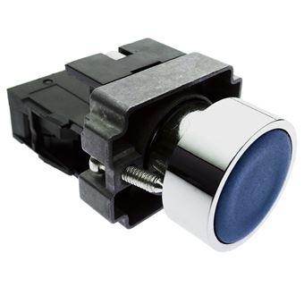 Pulsador de enganche BeMatik 22mm 400V 10A con bloqueo azul