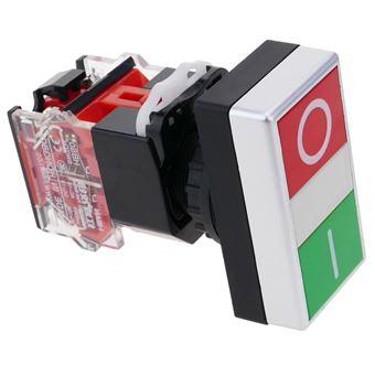 Interruptor de doble pulsador momentáneo BeMatik 22mm 1NO1NC 500V 10A con bloqueo