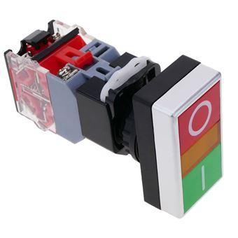 Interruptor de doble pulsador momentáneo BeMatik 22mm 1NO1NC 500V 10A con bloqueo y luz