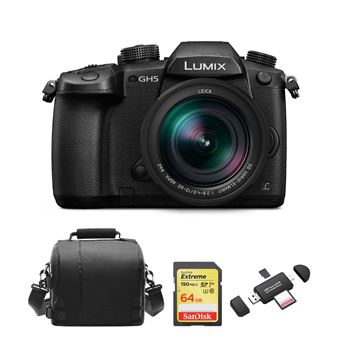 Panasonic DMC-GH5 Negro KIT 12-60mm F2.8-4.0 ASPH Negro + SD 64Go + Bolsa + Memory Card Reader