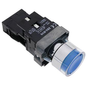 Pulsador de enganche BeMatik 22mm 400V 10A con bloqueo y luz LED azul