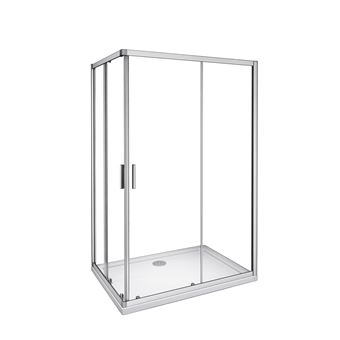 Mampara de Ducha Angular cabina de ducha mampara de ducha cuadrada Puerta Corredera Cristal 5 MM perfilería gris mate 120x76x185cm