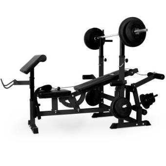 Klarfit KS02 Banco de musculación multifunción (Banco de pesas, Press de banca, aparato entrenamiento con cargas viadas, Curl-Pult Butterfly, curler piernas, construcción acero, acolchado, peso máximo 100kg)