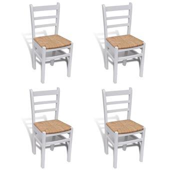 Sillas de comedor vidaXL 4 unidades madera de pino y enea blanco