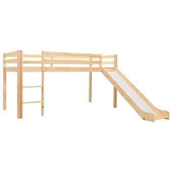 Cama alta para niños vidaXL tobogán y escalera madera pino 97x208 cm