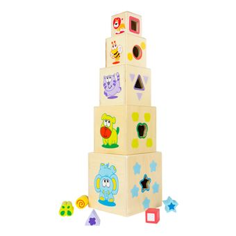 Torre 5 cubos madera con 5 figuras geométricas para encajar  - Play & Learn