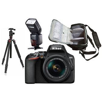 Nikon D3500 + AF-P DX NIKKOR 18-55mm f/3.5-5.6G VR + KamKorda Bolso + Trípode + Speedlite Flash