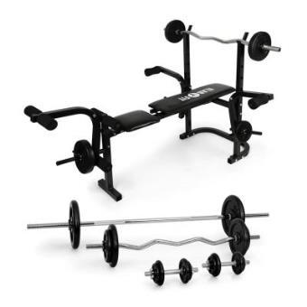 Klarfit Banco de entrenamiento centro de fuerza con juego de pesas (Entrenador multifunción, inlcuye pesas cortas, larga, ondulada, ajustable 3 niveles, 18 elementos (6 x 1.25 kg, 6 x 2.5 kg, 2 x 5 kg, 2 x 10 kg, 2 x 15 kg), banco musculacion regulable)