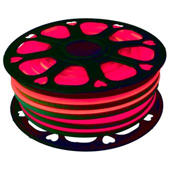 Tira LED NEON flexible 25m, Color luz roja 12VDC 8 * 16mm, corte 2,5cm, 120 led/m SMD2835