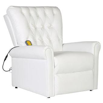 Sillón de masaje reclinable piel sintética, blanco