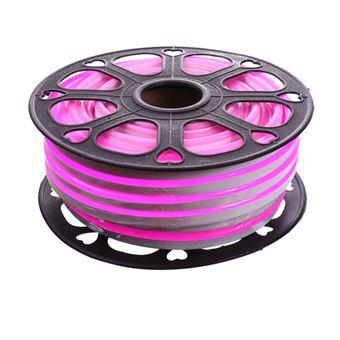 Tira LED NEON flexible 25m, Color luz rosa magenta 12VDC 8 * 16mm, corte 2,5cm, 120 led/m SMD2835