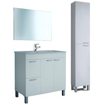 Pack Completo de Baño: mueble lavabo de PMMA + Espejo + Grifería + columna de baño, Blanco Brillo