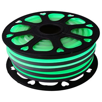 Tira LED NEON flexible 25m, Color luz verde 12VDC 8 * 16mm, corte 2,5cm, 120 led/m SMD2835