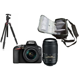 Nikon D3500 + AF-P DX 18-55mm f/3.5-5.6G VR + AF-S DX 55-300mm f/4.5-5.6G ED VR + KamKorda Bolso + Trípode