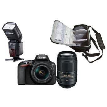 Nikon D3500 + AF-P DX 18-55mm f/3.5-5.6G VR + AF-S DX 55-300mm f/4.5-5.6G ED VR + KamKorda Bolso + Speedlite Flash