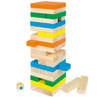 Torre de bloques madera Play&Learn - 58 piezas colores
