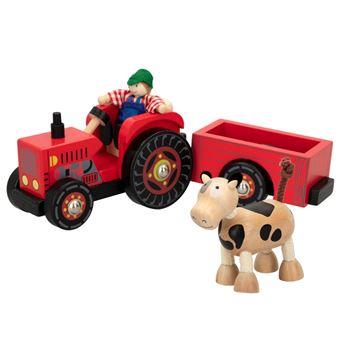 Tractor de madera con remolque, granjero y vaca - Woomax