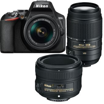 Nikon D3500 + AF-P DX 18-55mm f/3.5-5.6G VR + AF-S DX 55-300mm f/4.5-5.6G ED VR + AF-S 50mm f/1.8G
