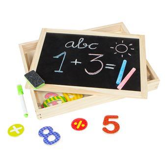 Pizarra de madera doble con tizas y números magnéticos - Play & Learn