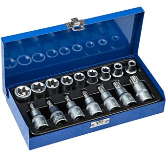 Set de 17 llaves de vaso 1/2 pulgada, Azul