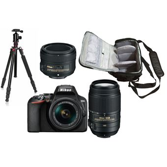 Nikon D3500 + AF-P DX 18-55mm G VR + AF-S DX 55-300mm G ED VR + AF-S 50mm f/1.8G + KamKorda Bolso + Trípode