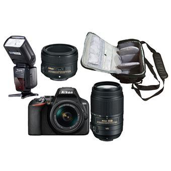 Nikon D3500 + AF-P DX 18-55mm G VR + AF-S DX 55-300mm G ED VR + AF-S 50mm f/1.8G + KamKorda Bolso + Speedlite Flash