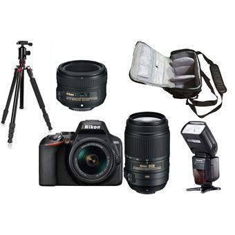 Nikon D3500 + AF-P DX 18-55mm G VR + AF-S DX 55-300mm G ED VR + AF-S 50mm f/1.8G + KamKorda Bolso + Trípode + Speedlite Flash