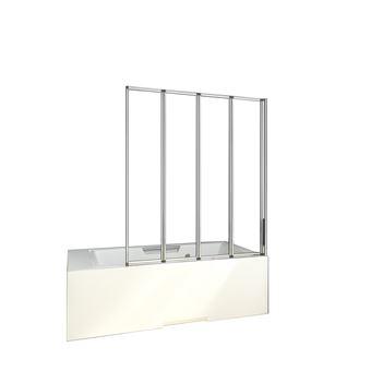 Mamparas de Bañera Biombo Plegable Cristal 4mm Gris Mate - 4 cristales plegables 90x140cm