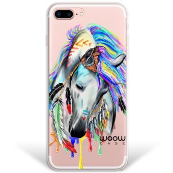 5baa513f17b Funda iPhone 7 Plus híbrida Caballo Indio Colección Dibujos Animales Rígida  y bordes de TPU Silicona - Transparente - Fundas y carcasas para teléfono  móvil ...