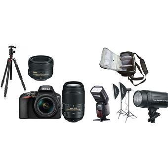 Nikon D3500 + AF-P DX 18-55mm G VR + AF-S DX 55-300mm G ED VR + AF-S 50mm f/1.8G + KamKorda Bolso + Trípode + Speedlite Flash + Kit de iluminación de estudio